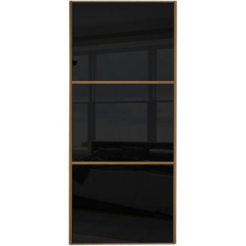 Classic 3 Panel - Black Glass Oak Frame