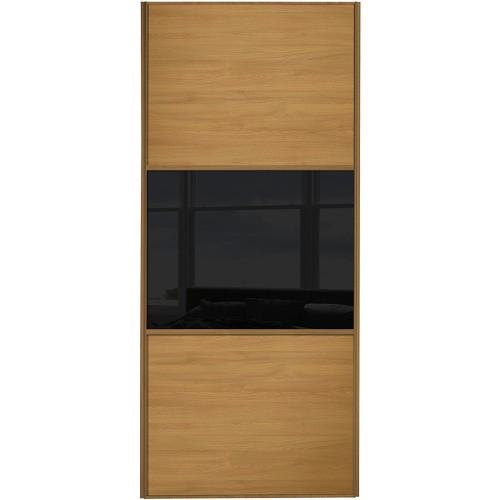 Classic 3 Panel - Oak Black Glass Oak Frame