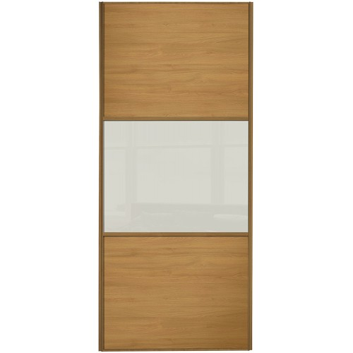 Classic 3 Panel - Oak Arctic White Glass Oak Frame