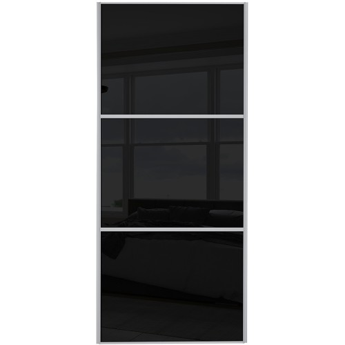 Classic 3 Panel - Black Glass Silver Frame