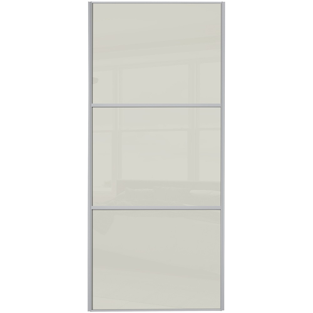 Classic 3 Panel - Soft White Glass Silver Frame