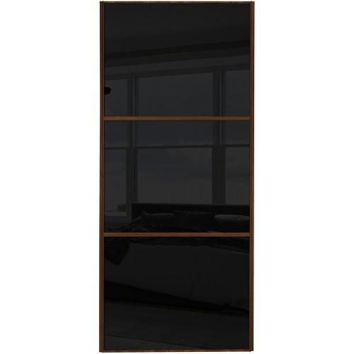 Classic 3 Panel - Black Glass Walnut Frame