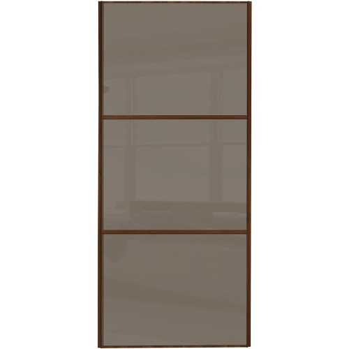 Classic 3 Panel - Cappuccino Glass Walnut Frame