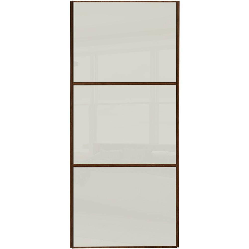 Classic 3 Panel - Soft White Glass Oak Frame