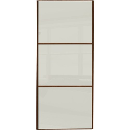 Classic 3 Panel - Arctic White Glass Walnut Frame