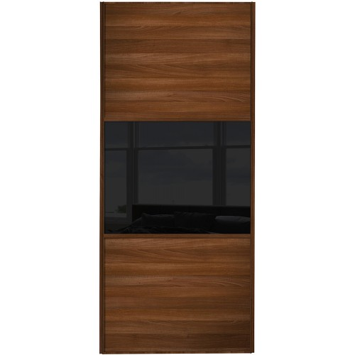 Classic 3 Panel - Walnut Black Glass Walnut Frame