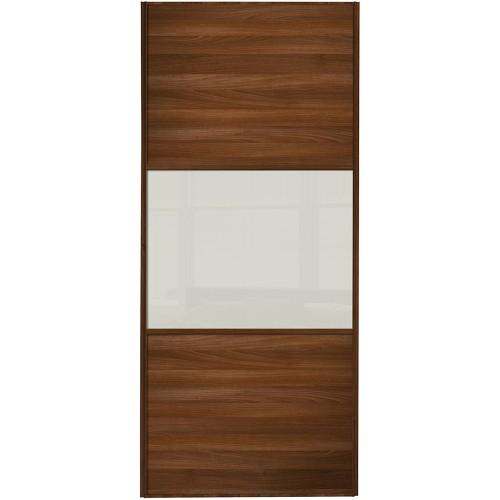 Classic 3 Panel - Walnut Arctic White Glass Walnut Frame