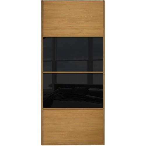 Classic 4 Panel - Oak Black Glass Oak Frame