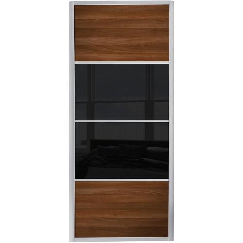 Ellipse 4 Panel - Walnut Black Glass