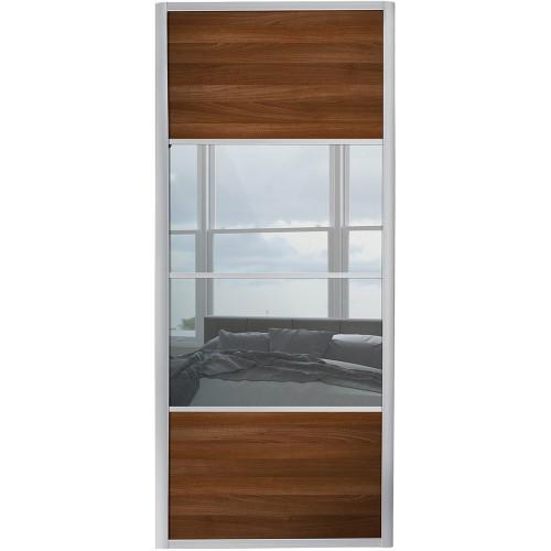 Ellipse 4 Panel - Walnut Mirror