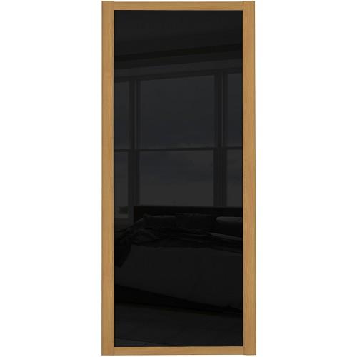 Shaker Single Panel - Black Glass Oak Frame