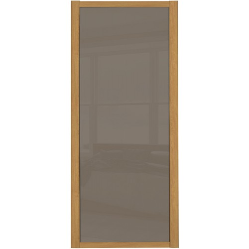 Shaker Single Panel - Cappucino Glass Oak Frame