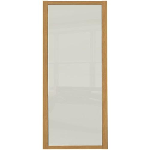 Shaker Single Panel - Arctic White Glass Oak Frame