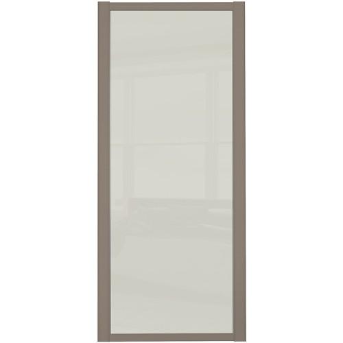 Shaker Single Panel - Arctic White Glass Stone Grey Frame