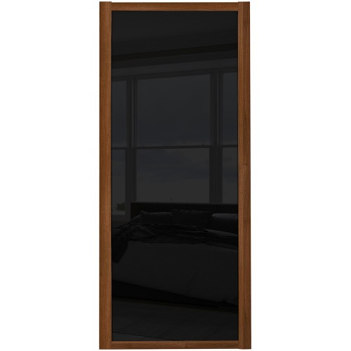 Shaker Single Panel - Black Glass Walnut Frame