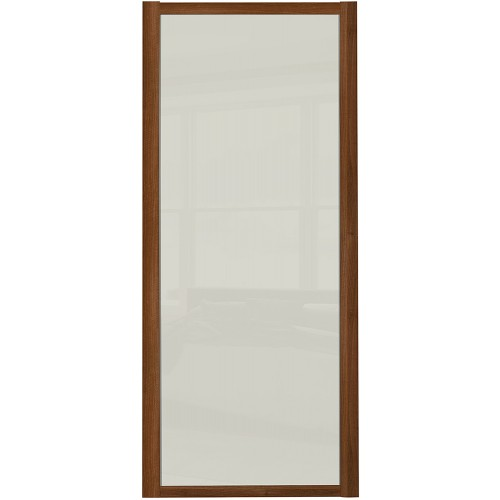 Shaker Single Panel - Arctic White Glass Walnut Frame
