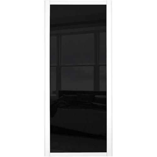 Shaker Single Panel - Black Glass White Frame