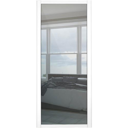 Shaker Single Panel - Mirrored White Frame