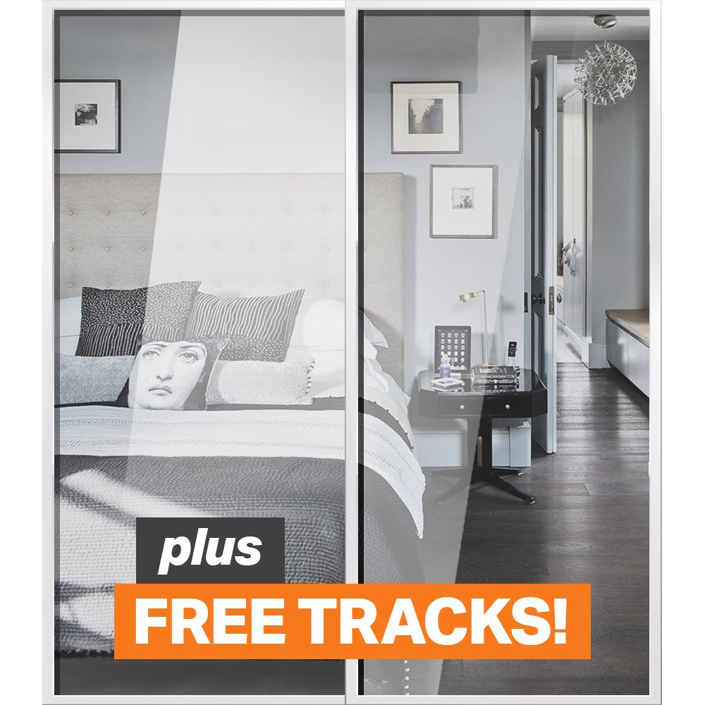 image mirrored sliding. standard mirrored sliding doors - white frame twin pack image