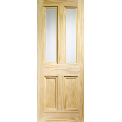 Edwardian 4 Panel - Clear Bevelled Glass Clear Pine
